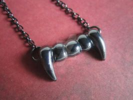 Vampire Fang Necklace on Gunmetal Plated Chain by MammaShaClothing