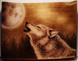 Wolf and the moon - Pyrography by CarloFerrario1954