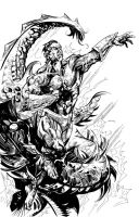 Namor in Black and White by johjames
