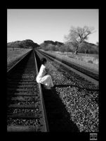Black and White Railroad Girl by itsalladream321
