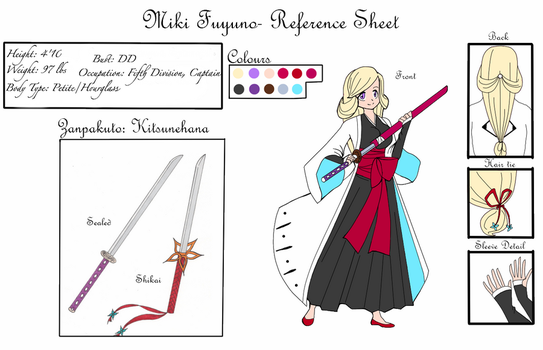 Bleach OC Reference Sheet- Miki Fuyuno by Pastel--ink
