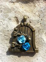 Blue Fairy Door Locket by BrokeCollegeCrafters