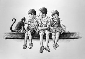 Children with Cat by BenHeine