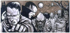 Classic Horror monsters 3 sketch card puzzle by mdavidct