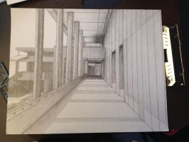 The completed hallway in my school by r0z3nkero