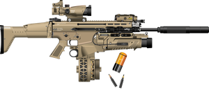 SCAR - H with drum magazine and Silenceur by Darth-M0rtuus
