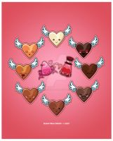 Kawaii Chocolate Hearts by KawaiiUniverseStudio