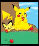 Pikachu by the apple tree by TheGreenPikachu