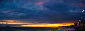 sunset at the beach by jdrephotography