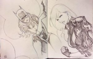 Batgirl and Black Canary Wondercon 2014 sketch by Ace-Continuado