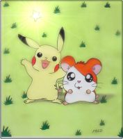 Pikachu  and  Hamtaro by fredvegerano
