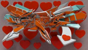 3d graffiti LOVE by anhpham88