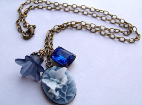 Shades of Blue Charm Necklace by ms-pen