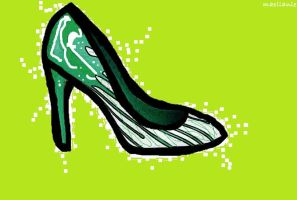 Green Stiletto in oil paint by Maellanie