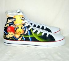 Hand painted Gaara shoes by augurlee