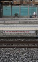 Do not cross the railway lines by enframed