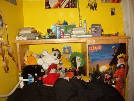 My messy cabinet-headboard by funny-cupcake5