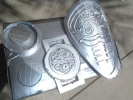 Painted metal pieces for Dovahkiin. by Scarlet-Impaler