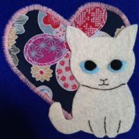 Kitty hearts you applique card by bunsandposies