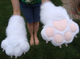 White and pink puffy paws by Nevask