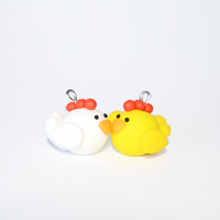 Pair of Cute Polymer Clay Chicken Charms by Linnypig
