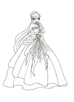 Winx Club Ball Gown Stella Coloring Page by winxmagic237