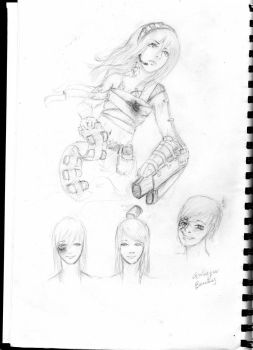 Grenade Girl and faces by GrimBon