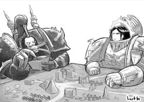 Emperor and Abaddon playing tabletop 40k by Lutherniel