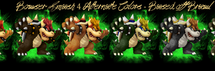 Super Smash Brothers 4 Bowser Alternate Colors by NightStarSky