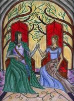 Elven king and his queen by airysilvertail