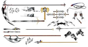 The Weapons of my Characters by ManaMagician