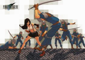 Tifa vs Soldiers by Sourya