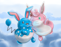 Balloon Bunnies (Azumarill and Wigglytuff) by Mewscaper