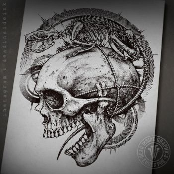 Rat skeleton and a skull by DeadInsideGraphics