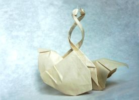 Entangled Swans - Origami by mitanei