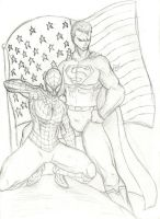 Superman and Spiderman by Amrock