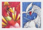 Ho-Oh and Lugia ACEO by KristenPlescow