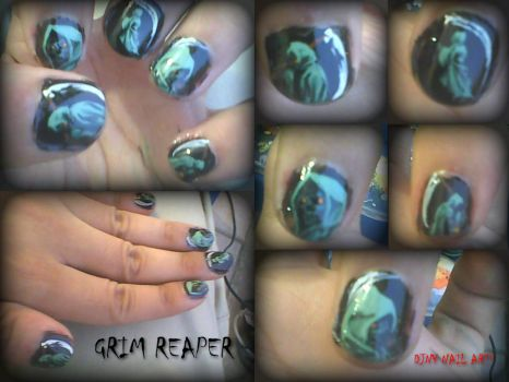 Grim Reaper Nail Art Design by panom