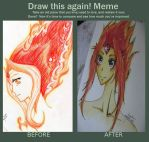 Flame Princess Before and After by ButterflyInMaze