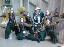 Kyoshi Warriors and Uncle Iroh by DerekAshcroft