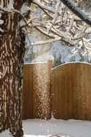 Snow Falling with Fence 2 by happeningstock