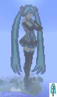 Hatsune Miku in Minecraft by CyberTheHedgehog270