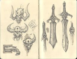 sketches_skulls and swords by marcnail