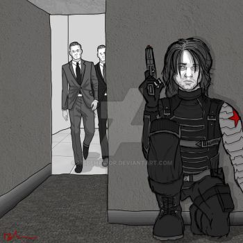 Bucky and Targets (Commission Piece) by MsBehavior