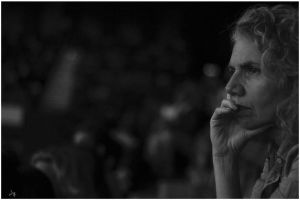 She is watching  badminton anxiously  - B/W by jay4everuk