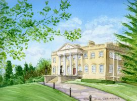 Claremont Mansion Watercolour by Brainfruit