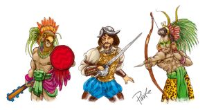 Aztecs, Mayans and Conquerors by pahko