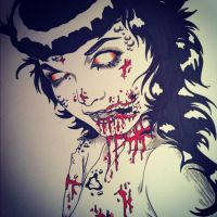 Zombie Betty Page by Sarah-T0nin