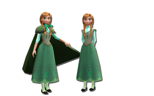 MMD Frozen - Anna (summer ver.2 with/without cape) by JackFrostOverland