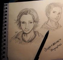 old supernatural sketches dean and sam by Shinigamii93